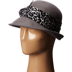SCALA - Wool Felt Cloche w/ Animal Print Band